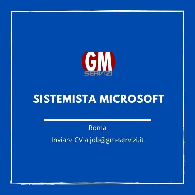 GM Servizi: posizione aperta Sistemista microsoft